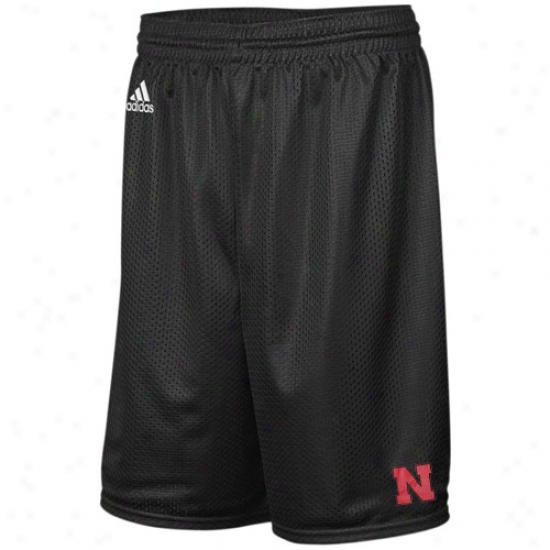 Adidas Nebraska Cornhuskers Black Super Logo Mesh Shorts