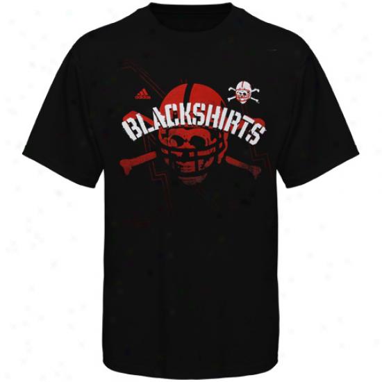 Adidas Nebraska Cornhuskers Blackshirts Big Skull T-shirt - Black