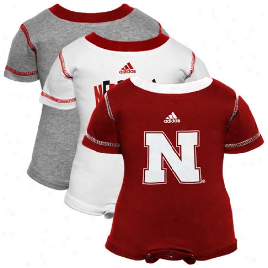 Adidas Nebraska Cornhuskers Infant Ash-scarlet-white 3-pack Creeper Set