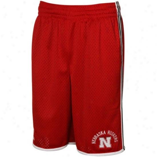 Adidas Nebraska Cornhuskers Scarlet Classic Striped Mesh Shorts