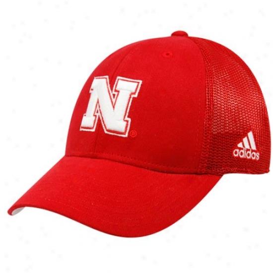 Adidas Nebraska Cornhuskers Scarlet Meah Back Flex Hat