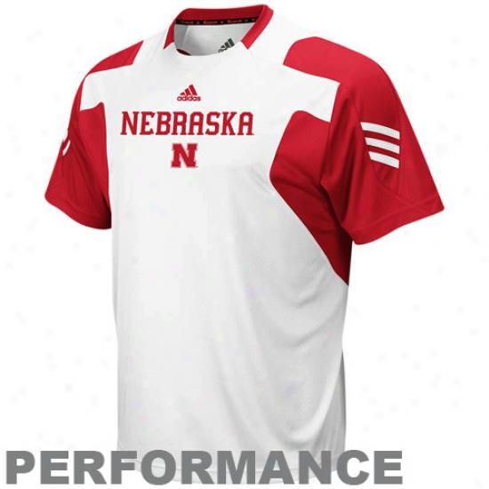 Adidas Nebraska Cornhuskers Sideline Scorch Crew Performance T-shirt - White-scarlet