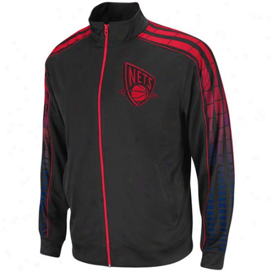 Adidas New Jersey Nets Black Vibe Full Zip Track Jacket