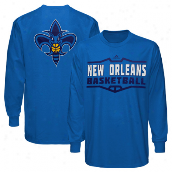 Adidas New Orleans Hornets Team Perimeter Long Sleeve T-shirt - Creole Blue