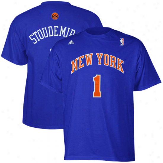 Adidas New York Knicks #1 Amare Stoudemire Blue Net Number T-shirt