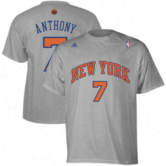 Adidas New York Knicks #7 Carmelo Anthony Ash Net Number T-shirt