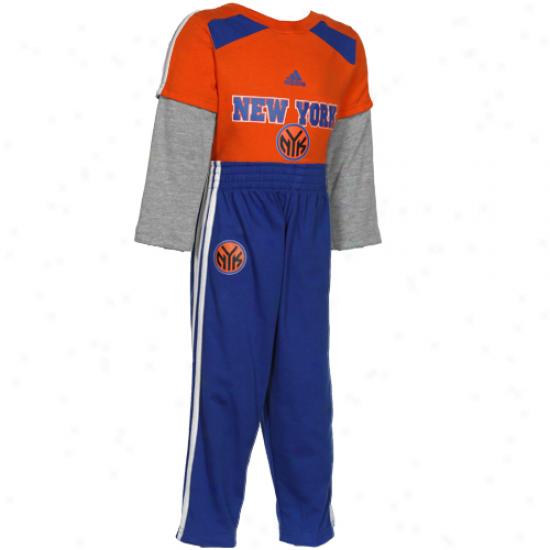 Adidas New York Knicks Infant Long Sleeve Layered Creeper & Pants Set - Orange/royal Blue