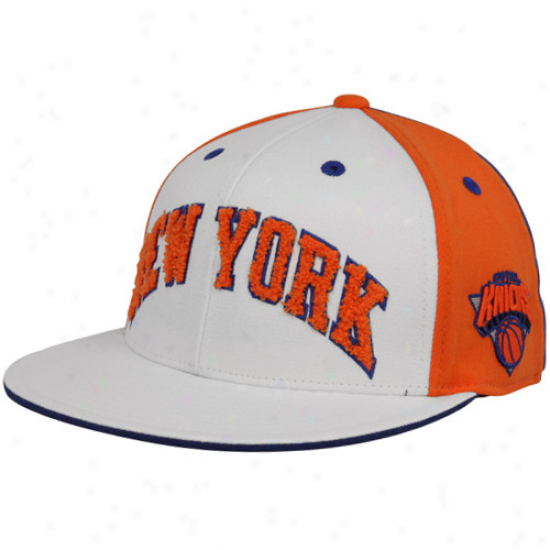 Adidas New York Knicks White-orange Chenille 210 Fitted Hat
