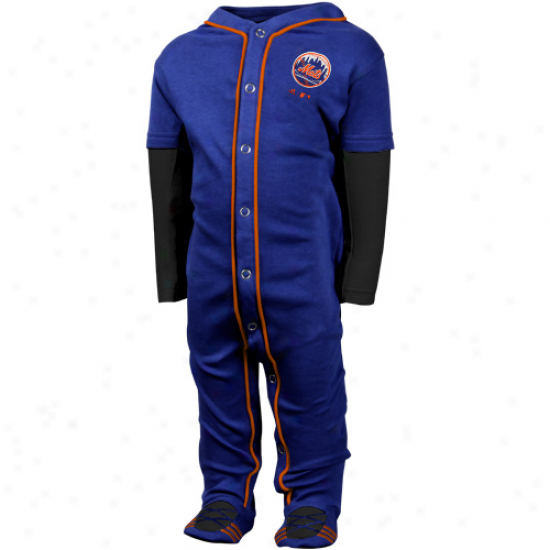 Adidas New York Mets Infant Piped Jersey Footed Pajamas - Royal Blue