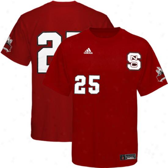 Adidas North Carolina State Wolfpack #25 Red Baseball Player T-shirt