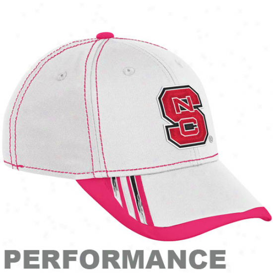 Adidas North Carolina State Wolfpack White Breast Cancer Awareness Players Sidlrine Performance Flex Hat