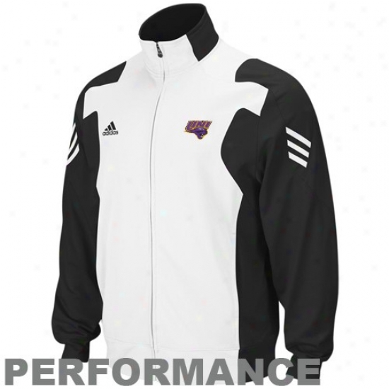 Adidas Northern Iowa Panrhers Black-white Scorch Full Zip Performance Warm-up Jacket