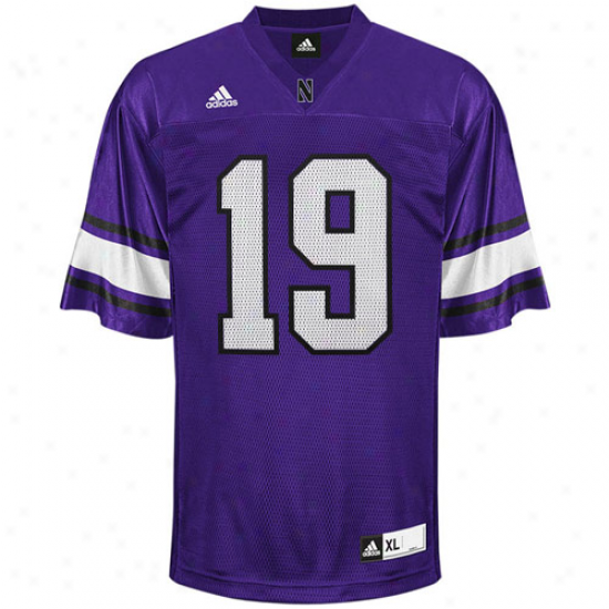 Adidas Northwestern Wilcdats #19 Replica Football Jersey - Purple