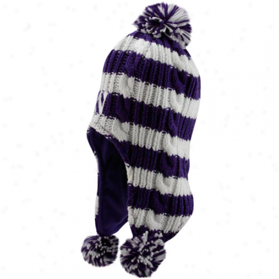 Adidas Northwestern Wildcats Youth Purple-white Striped Tassel Knit Beanie