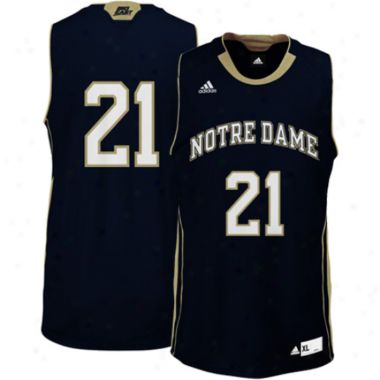 Adidas Notre Dame Fighting Irish #21 Autograph copy Basketballl Jersey-navy Blue