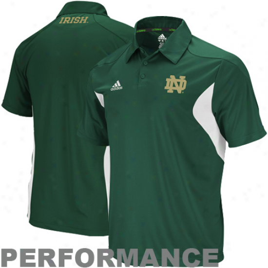 Adidas Notre Dame Fighting Irish Green Coaches Sideline Pdrformance Polo