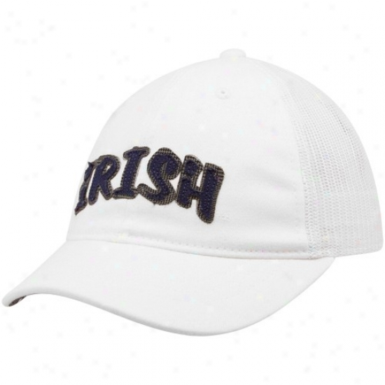 Adidas Notre Dame Fighting Irish Ladies White Short Brim Slouch Adjustable Hat