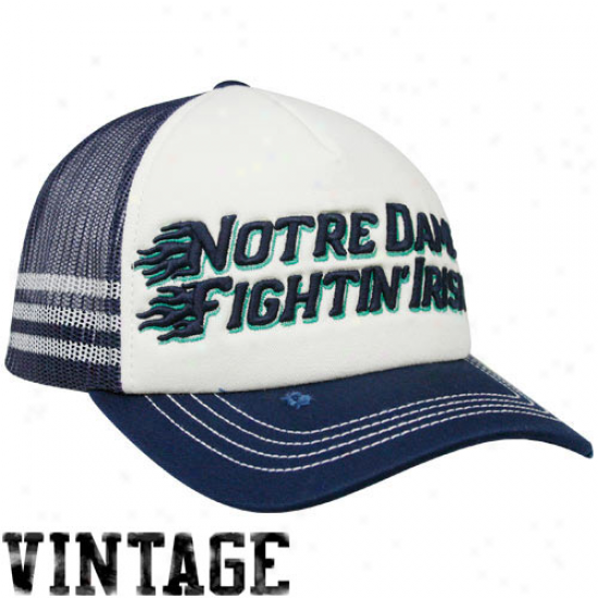 Adidas Notre Dame Fighting Irish Navy Blue-white Flame Adjustable Trucker Hat