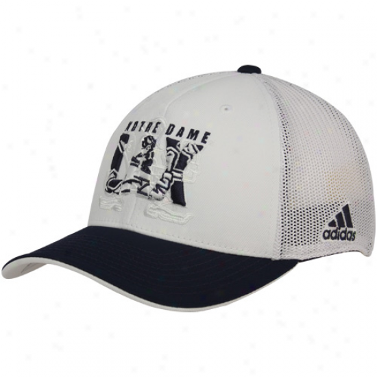 Adidas Notre Dame Fighting Irish White-navy Blue Lacrosse Mesh Flex Hat
