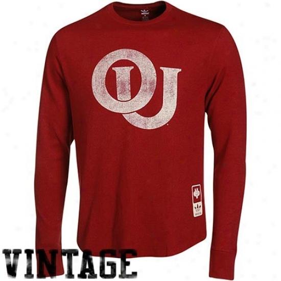 Adiads Oklahoma Sooners Crimson Super-soft Vintage Mascot Long Sleeve T-shirt