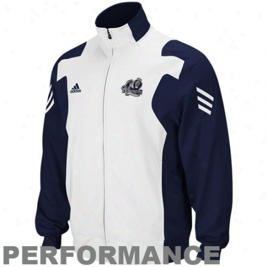 Adidas Old Dominion University Navy Blue-white Scorch Full Zip Performance Warm-up Jacket