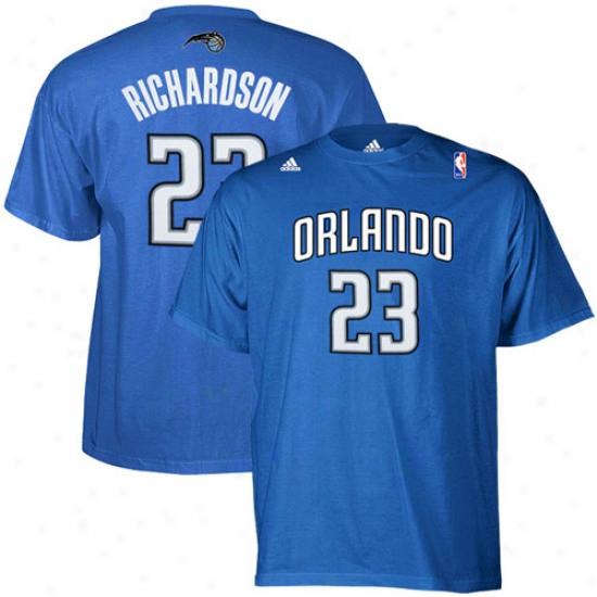 Adidas Orlando Magic #23 Jason Richardson Royal Blue Net Number T-shirt