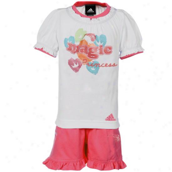 Adidas Orlando Magic Toddler Girls White-pink Princess T-shirt & Shorts Regular