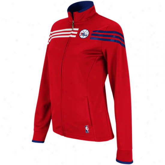Adidas Philadelphia 76esr Laadies Red On-court East Full Zip Jacket