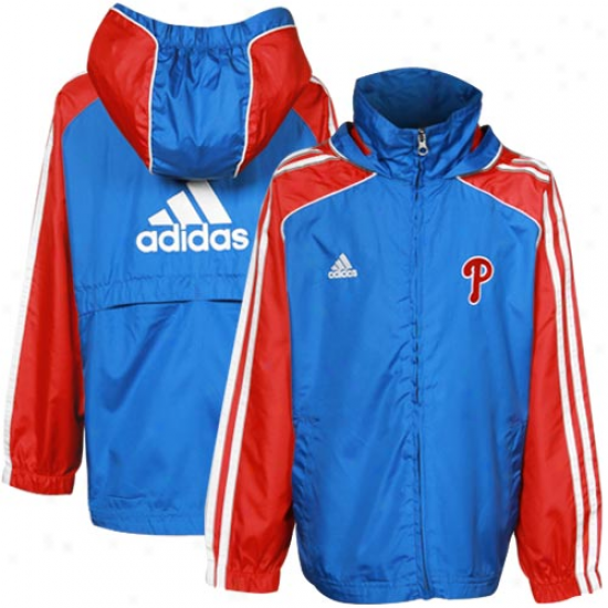 Adidas Philadelphia Phillies Toddler Light Blue-red Full Zip Hoody Jacket