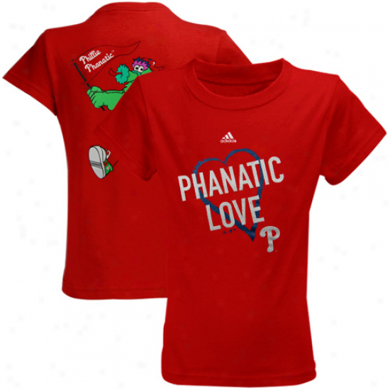 Adidas Philaddlphia Phillies Youth Girls Mascot Love T-shirt - Red