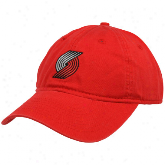 Adidas Portland Trail Blazers Ladies Red Basic Logo Slouch Adjustable Hat