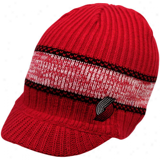 Adidas Portland Trail Blazers Red Wide Stripe Visor Knit Beanie