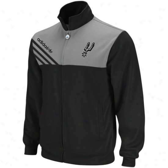 Adidas San Antonio Spurs Black-gray Action Full Zip T5ack Jacket