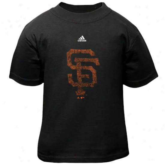 Adidas San Francisco Giants Toddler Distressed Logo T-shirt - Black
