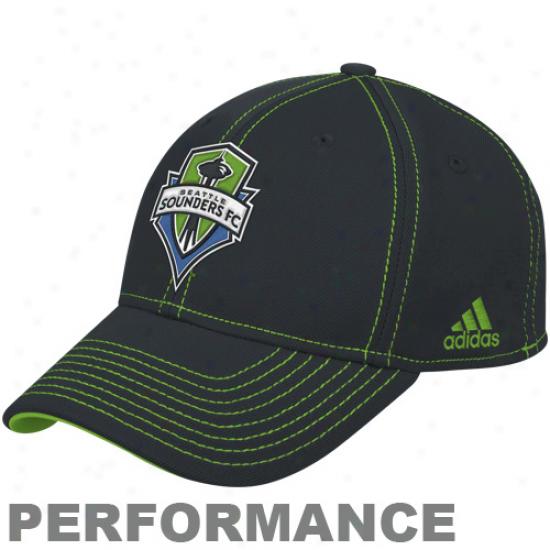 Adidas Seattle Sounders Fc Authentic Coach's Flex Hat - Charcoal