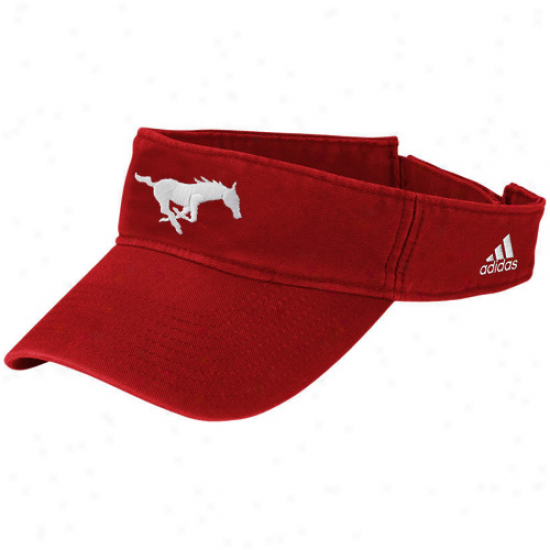 Adidas Smu Mustangs Crimson Basic Logo Adjustable Visor