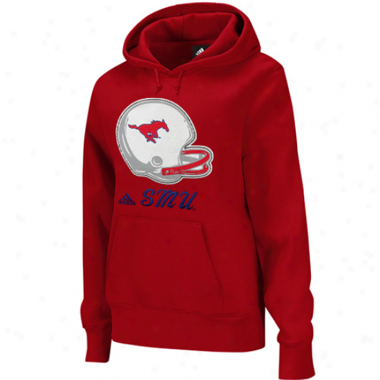 Adidqs Smu Mustangs Ladies Crimson Helmet Patch Too Pullover Hoodie Sweatshirt