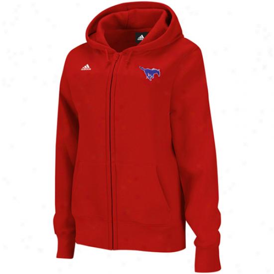 Adidas Smu Mustangs Ladies Red Chief Logo Full Zip Hoodie Sweatshirt