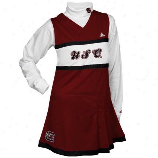 Adidas South Carolina Gamecocks Youth Girls Garndt-white 2-piece Turtleneck & Cheerleader Dress Set