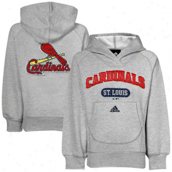 Adidas St. Louia Cardinals Youth Girls Ash Pop Over Shawl Collar Pullover Hoody