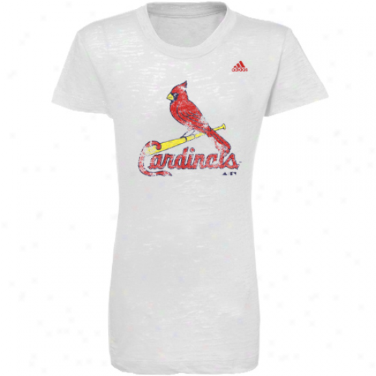 Adidas St. Louis Cardinals Young men Girls White Distressed Logo Burnout T-shirt