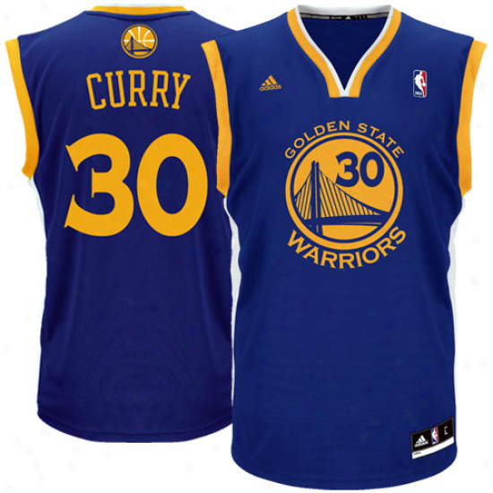 Adidas Stephen Curry Golden State Warrirs Youth Revolution 30 Twill Replica Jersey - Royal Blue