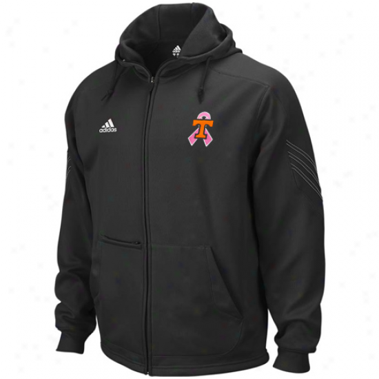 Adidas Tennessee Volunteeers Black Breast Cancer Awareness Coaches Performance Full Zip Hoodie Sweatshirt