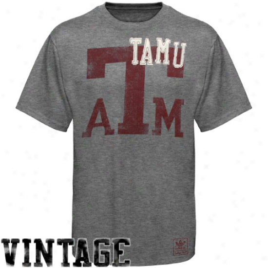 Adidas Texas A&m Aggies Kind Years Vintage Tri-blend Premium T-shift - Ash