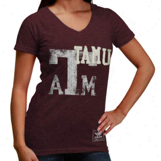 Adidas Texas A&m Aggies Ladies Race Years Too V-neck Tri-blend Premium Ts-hirt - Maroon
