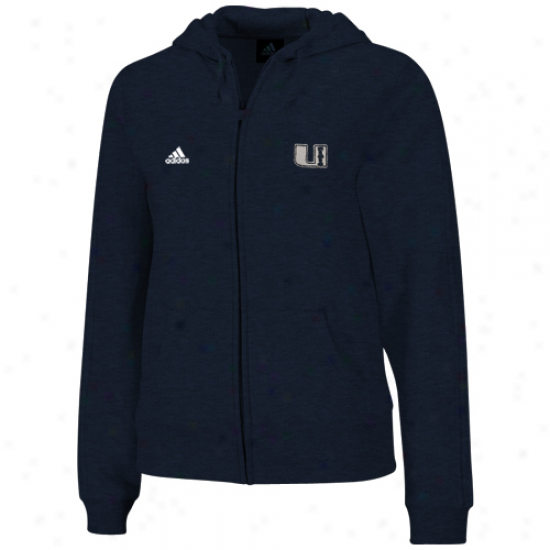 Adidas Utab State Aggies Ladies Navy Blue Radical Logo Full Zip Hoodie Sweatshirt