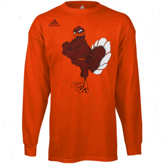 Adidas Virginia Tech Hokies Second Best Logo Long Sleeve T-shirt - Orsnge