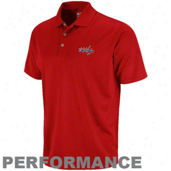 Adidas Washington Capitals Red Climalite Performance Polo