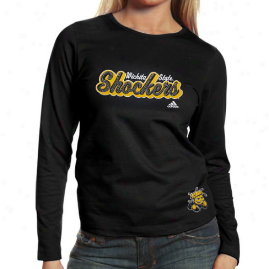 Adidas Wichita State Shockers Ladies Halftone Script Long Sleeve Premium T-shirt - Black