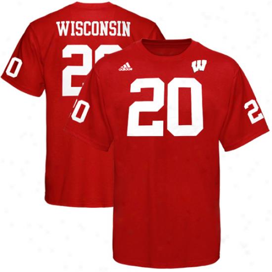 Adidas Wisconsin Badgers #20 Football Player T-shirt - Cardinal
